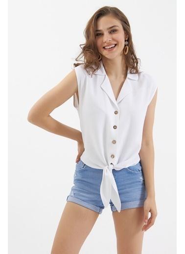Pattaya Pattaya Kadın Önü Bağlamalı Keten Gömlek Bluz P21S201-2088 Beyaz